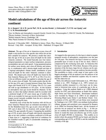 Model Calculations of the Age of Firn Ai... by Kaspers, K. A.