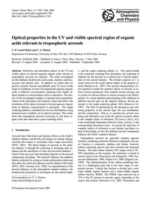Optical Properties in the Uv and Visible... by Lund Myhre, C. E.