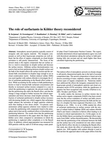 The Role of Surfactants in Köhler Theory... by Sorjamaa, R.