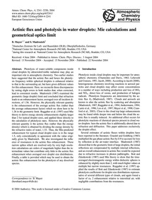 Actinic Flux and Photolysis in Water Dro... by Mayer, B.