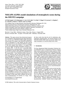 Nogaps-alpha Model Simulations of Strato... by McCormack, J. P.