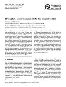 Stratospheric Aerosol Measurements by Du... by Vaughan, G.