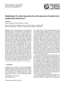 Optimizing Co2 Observing Networks in the... by Rayner, R. J