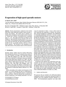 Evaporation of High Speed Sporadic Meteo... by Murad, E.