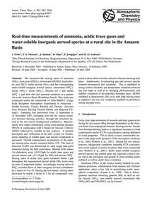 Real-time Measurements of Ammonia, Acidi... by Trebs, I.