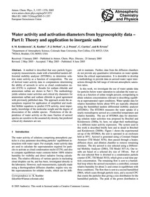 Water Activity and Activation Diameters ... by Kreidenweis, S. M.