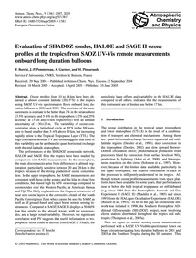 Evaluation of Shadoz Sondes, Haloe and S... by Borchi, F.