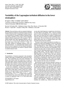 Variability of the Lagrangian Turbulent ... by Legras, B.