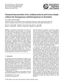 Chemical Characteristics of Ice Residual... by Twohy, C. H.