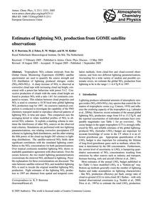 Estimates of Lightning NoX Production fr... by Boersma, K. F.