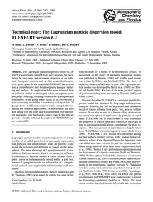 Technical Note: the Lagrangian Particle ... by Stohl, A.