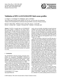 Validation of Ife-1.6 Sciamachy Limb Ozo... by Segers, A. J.