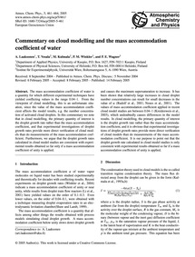 Commentary on Cloud Modelling and the Ma... by Laaksonen, A.