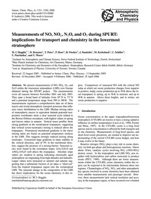 Measurements of No, NoY, N2O, and O3 Dur... by Hegglin, M. I.