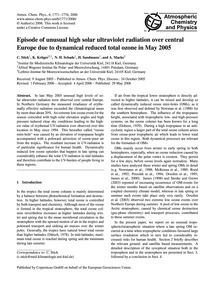 Episode of Unusual High Solar Ultraviole... by Stick, C.