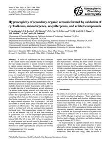 Hygroscopicity of Secondary Organic Aero... by Varutbangkul, V.