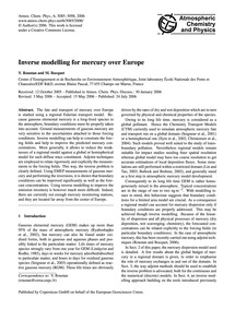 Inverse Modelling for Mercury Over Europ... by Roustan, Y.