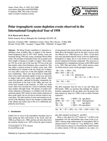 Polar Tropospheric Ozone Depletion Event... by Roscoe, H. K.