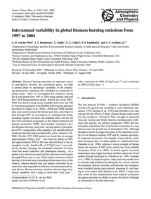 Interannual Variability in Global Biomas... by Van Der Werf, G. R.