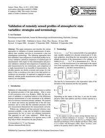 Validation of Remotely Sensed Profiles o... by Von Clarmann, T.
