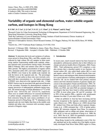 Variability of Organic and Elemental Car... by Ho, K.&Nbsp;F.