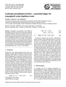 Carbonate Precipitation in Brine – a Pot... by Sander, R.