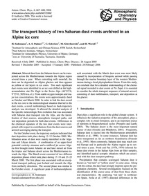 The Transport History of Two Saharan Dus... by Sodemann, H.