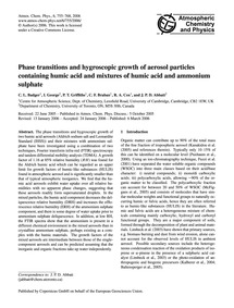 Phase Transitions and Hygroscopic Growth... by Badger, C. L.