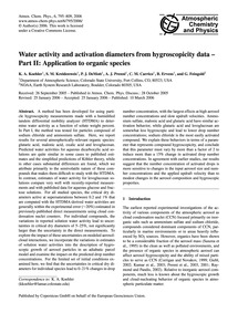 Water Activity and Activation Diameters ... by Koehler, K. A.