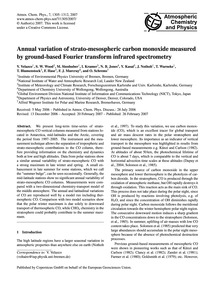 Annual Variation of Strato-mesospheric C... by Velazco, V.