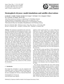 Stratospheric Dryness: Model Simulations... by Lelieveld, J.