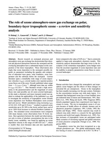 The Role of Ozone Atmosphere-snow Gas Ex... by Helmig, D.