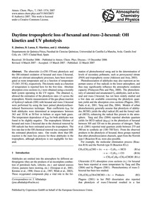 Daytime Tropospheric Loss of Hexanal and... by Jiménez, E.