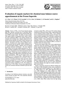 Evaluation of Organic Markers for Chemic... by Chow, J. C.