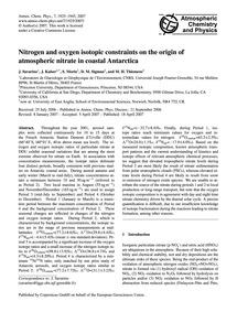 Nitrogen and Oxygen Isotopic Constraints... by Savarino, J.