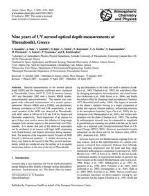 Nine Years of Uv Aerosol Optical Depth M... by Kazadzis, S.