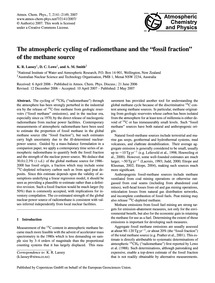 The Atmospheric Cycling of Radiomethane ... by Lassey, K. R.
