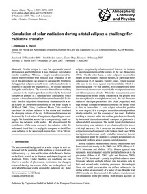 Simulation of Solar Radiation During a T... by Emde, C.