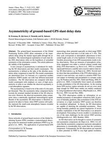 Asymmetricity of Ground-based Gps Slant ... by Eresmaa, R.