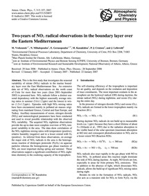 Two-years of No3 Radical Observations in... by Vrekoussis, M.