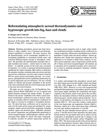 Reformulating Atmospheric Aerosol Thermo... by Metzger, S.