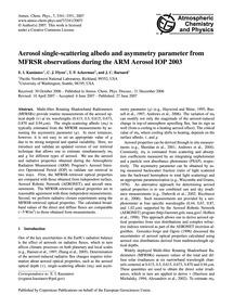Aerosol Single-scattering Albedo and Asy... by Kassianov, E. I.