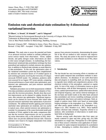 Emission Rate and Chemical State Estimat... by Elbern, H.