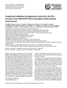 Geophysical Validation of Temperature Re... by Ridolfi, M.