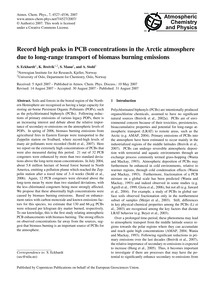 Record High Peaks in Pcb Concentrations ... by Eckhardt, S.
