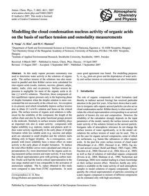 Modelling the Cloud Condensation Nucleus... by Varga, Z.