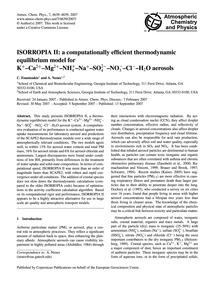 Isorropia II: a Computationally Efficien... by Fountoukis, C.