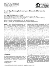 Sensitivity of Stratospheric Inorganic C... by Waugh, D. W.