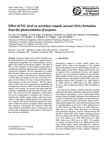 Effect of NoX Level on Secondary Organic... by Ng, N. L.