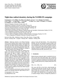 Night-time Radical Chemistry During the ... by Sommariva, R.